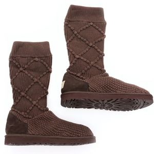 UGG Argyle Cardy Knit Stout Chocolate Slouch Boots